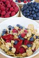 Bowl of Healthy Breakfast Cereals With Blueberries Raspberries a