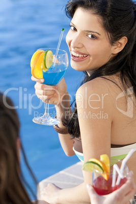 Beautiful Hispanic Latina Woman Drinking A Cocktail With Her Fri