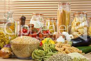 Healthy Pasta, Vegetables, Rice, Grain, Olive Oil, Seeds and Tom