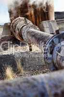 HDR Photograph of Rusting Industrial Pipes and Pipelines
