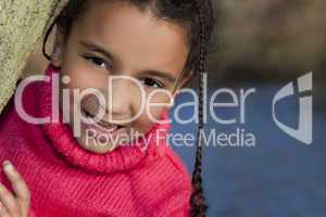 Portrait of Beautiful Mixed Race African American Little Girl Sm