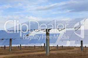A Field of Renewable Green Energy Solar Mirror Panels