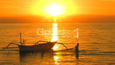 Fishing boat on Lovina beach, Bali.