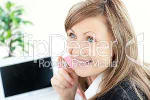 Attractive businesswoman with headset on