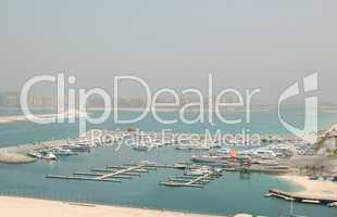 Dubai Marina yacht parking and Jumeirah Palm man-made island, Du