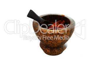 pepperbox with red hot chili pepper isolated on white