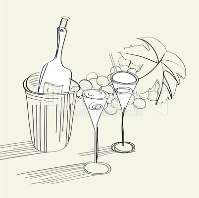 Sketch with bottle and two glasses