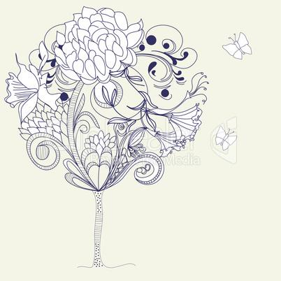 Hand-Drawn tree. Sketch