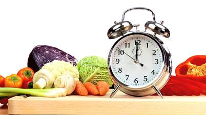 Gemüse und Wecker
