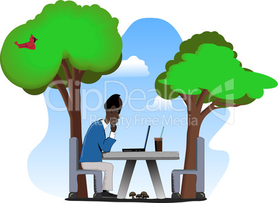 Older Man on Laptop Outdoors