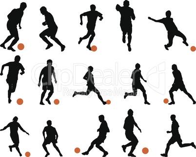 Football (soccer) silhouette set