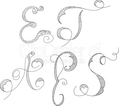 Sketch with letters E, T, A, P, S