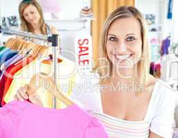 Radiant woman selecting item