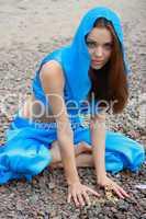 beautiful girl in blue east cloth