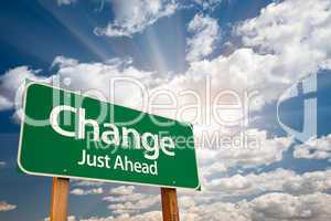 Change Green Road Sign Over Clouds