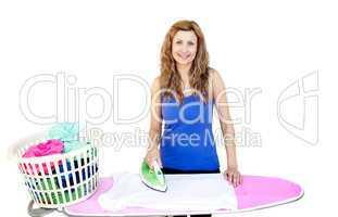 Bright woman ironing