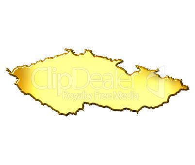 Czech Republic 3d Golden Map
