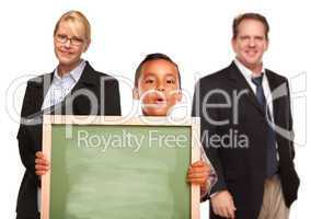 Hispanic Boy Holding Chalk Board with Teachers Behind