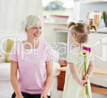 Pretty woman get surprise by her daughter
