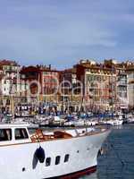 White boat in old port of Nice