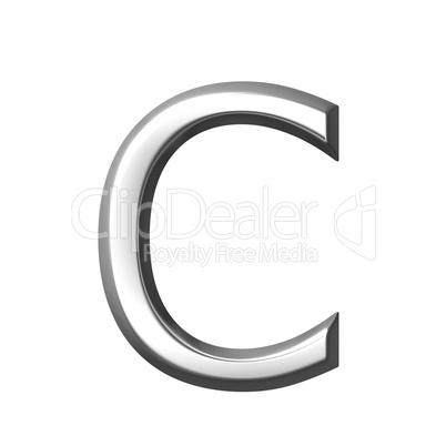 3d silver letter c