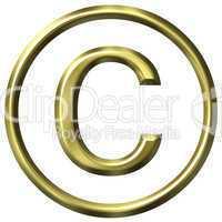 3D Golden Copyright Symbol