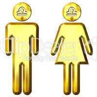 3d golden Libra man and woman
