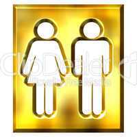 3D Golden Unisex Sign
