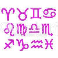 3D Pink Glass Zodiac Signs