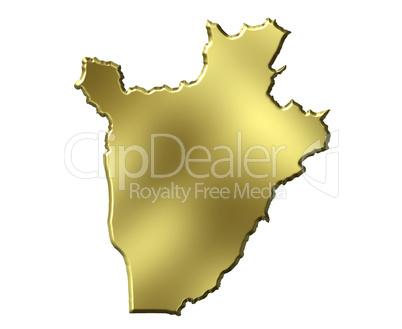 Burundi 3d Golden Map