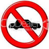 No cars allowed 3d sign