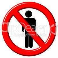 No men 3d sign