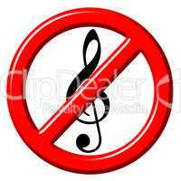 No music 3d sign