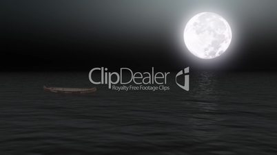 Boat on calm sea under moonlight - Backgrounds - Transport