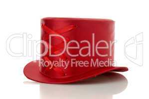 Red hat with ribbon