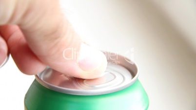 Closeup of cola can - Cream soda drink opening