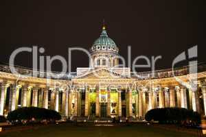 Kazan Cathedral in St. Petersburg by night