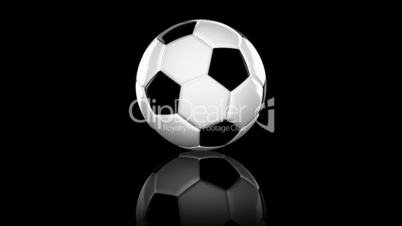 Looping animation a soccer ball. On black background