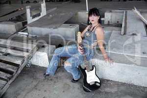 Grunge/Punk Rocker Girl with Guitar (2)