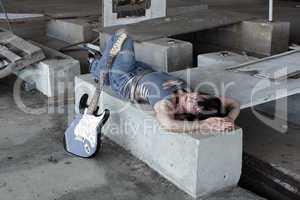 Grunge/Punk Rocker Girl with Guitar (3)