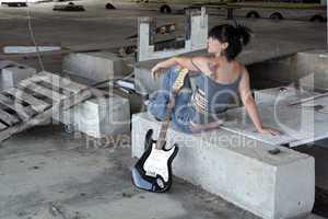 Grunge/Punk Rocker Girl with Guitar (4)