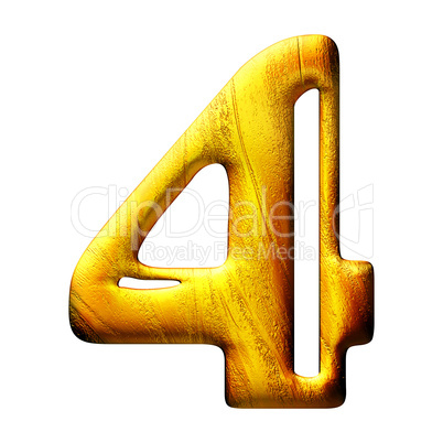 3D golden digit