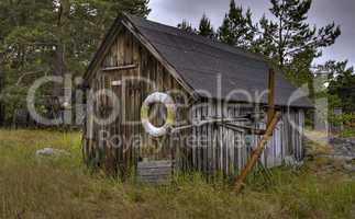 Fishing cabin.