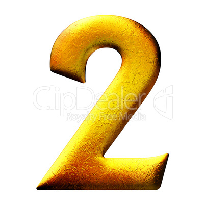 3D golden digit