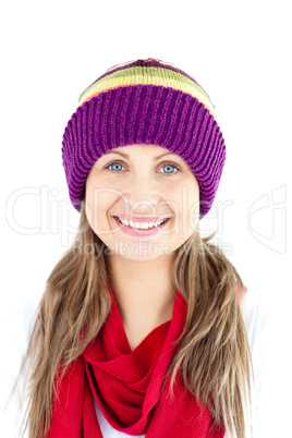 Jolly young woman smiling at the camera wearing a cap and red sc