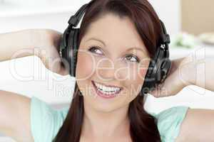 Animated young woman listen to music wearing headphones