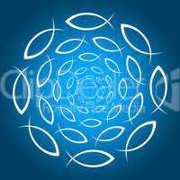 ICHTHYS Mandala Blau Weiss