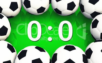 Fussball Spielergebnis 0 zu 0 - Unentschieden