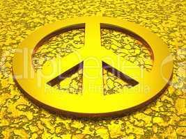 Peace Zeichen / Symbol aus gold