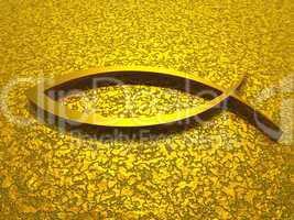 Goldenes ICHTHYS Fisch Symbol /Zeichen